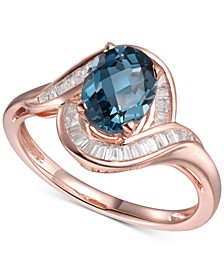 London Blue Topaz (1-3/8 ct. t.w.) & Diamond (1/4 ct. t.w.) Swirl Ring in 14k Rose Gold