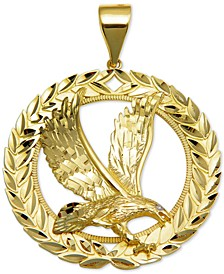Diamond Accent Eagle and Laurel Pendant in 10k Gold