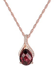 "Garnet (2-1/10 ct. t.w.) & Diamond (1/20 ct. t.w.) 18"" Pendant Necklace in 14k Yellow Gold (Also available in Citrine, Amethyst & Blue Topaz)"