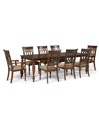 crestwood dining room furniture, 9 piece set (dining table, 6 side