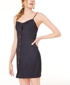Sequin Hearts Juniors' Button-Front Denim Dress