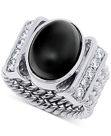 Onyx (15 x 10mm) & Swarovski Zirconia Statement Ring in Sterling Silver