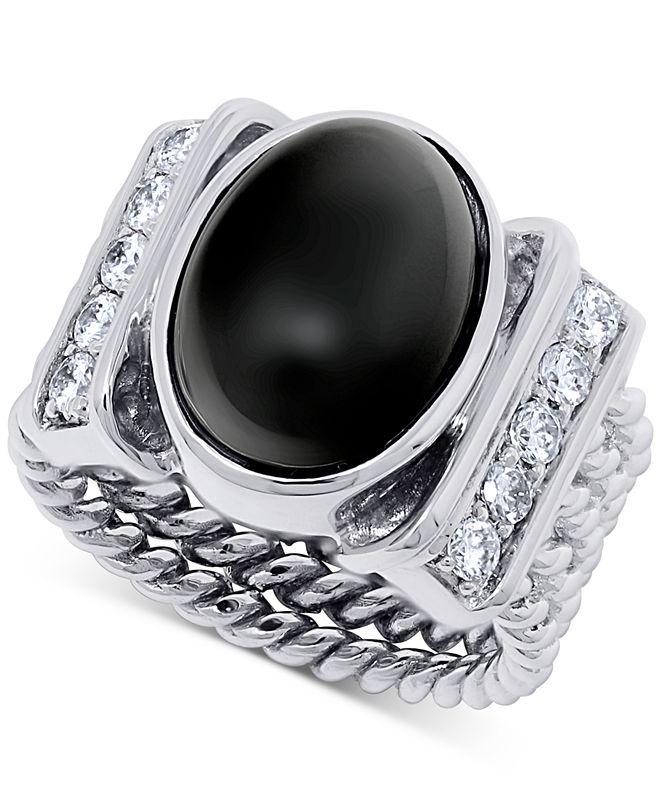 Macy's Onyx (15 x 10mm) & Swarovski Zirconia Statement Ring in Sterling Silver
