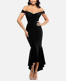 XSCAPE Off-The-Shoulder High-Low Gown