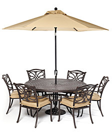 """CLOSEOUT! Kingsley Outdoor Cast Aluminum 7-Pc. Dining Set (60"""" Round Dining Table and 6 Dining Chairs), Created for Macy's"""