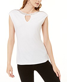 INC Embellished Keyhole T-Shirt, Created for Macy's