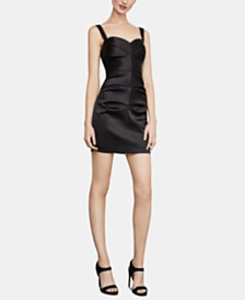 BCBGMAXAZRIA Lace-Trim Satin Mini Dress