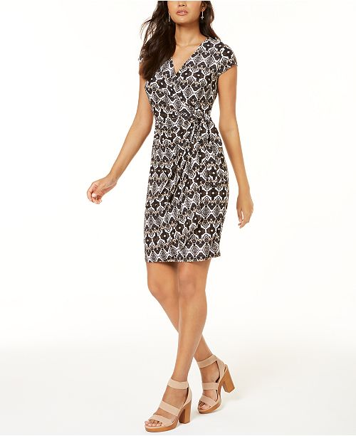 INC International Concepts INC Printed Faux-Wrap Dress, Created for Macy's
