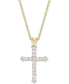 """Diamond Cross Pendant Necklace (1/2 ct. t.w.) in Sterling Silver or 14k Gold-Plate Over Sterling Silver, 16"""" + 2"""" Extender"""