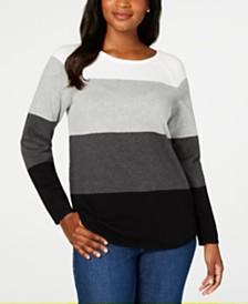 Karen Scott Colorblocked Pullover Sweater, Created for Macy's