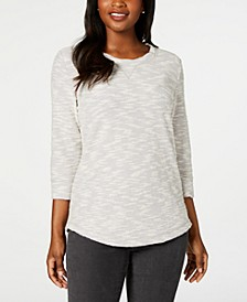 Petite Space-Dye 3/4-Sleeve Top, Created for Macy's