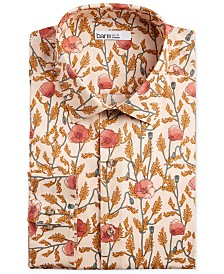 Bar III Men's Slim-Fit Stretch Large Poppy-Print Dress Shirt, Created for Macy's