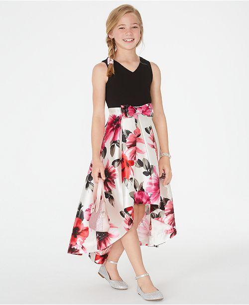 Speechless Big Girls Floral-Print High-Low Dress