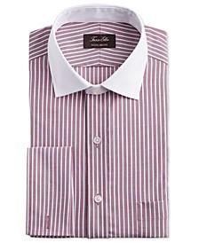 Men's Classic/Regular Fit Non-Iron Supima Cotton Twill Bar Stripe French Cuff Dress Shirt, Created for Macy's