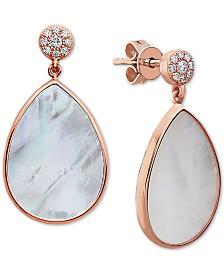 EFFY® Mother-of-Pearl & Diamond (1/10 ct. t.w.) Teardrop Drop Earrings in 14k Rose Gold