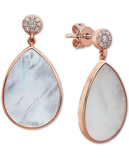 EFFY Collection EFFY® Mother-of-Pearl & Diamond (1/10 ct. t.w.) Teardrop Drop Earrings in 14k Rose Gold