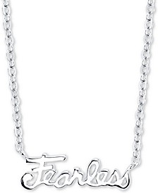 """Fearless"" Station Pendant Necklace in Sterling Silver, 16"" + 2"" extender"