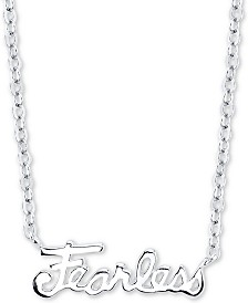 """Unwritten """"Fearless"""" Station Pendant Necklace in Sterling Silver, 16"""" + 2"""" extender"""