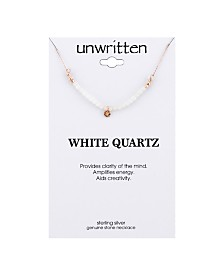 "Unwritten White Quartz Faceted Stone Beaded Necklace in Rose Gold-Tone Sterling Silver, 16""+ 2"" extender"