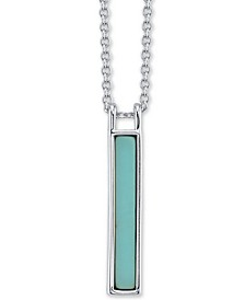 "Synthetic Turquoise Stone Vertical Bar Pendant Necklace in Sterling Silver, 16"" + 2"" extender"