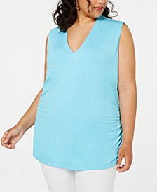 INC Plus Size Ruched V-Neck Tank, Created for Macy's