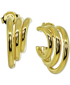 Giani Bernini Triple Hoop Earrings in 18k Gold-Plate Over Sterling Silver, Created for Macy's