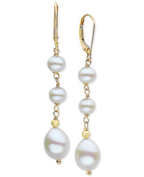 EFFY Collection EFFY® Cultured Freshwater Pearl (5-1/2 & 8mm) Drop Earrings in 14k Gold