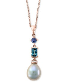 "EFFY® Multi-Gemstone & Diamond Accent 18"" Pendant Necklace in 14k Rose Gold"