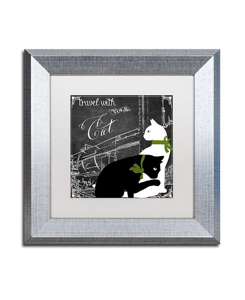 """Trademark Global Color Bakery 'Travel With Your Cat' Matted Framed Art - 11"""" x 11"""""""