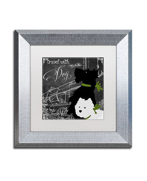 """Trademark Global Color Bakery 'Travel With Your Dog' Matted Framed Art - 11"""" x 11"""""""