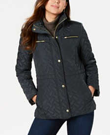 Cole Haan Signature Faux-Leather-Trim Quilted Anorak Coat
