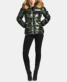Kylie Faux-Fur-Trim Camo-Print Down Puffer Coat
