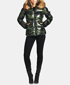S13 Kylie Faux-Fur-Trim Camo-Print Down Puffer Coat