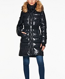 Challet Belted Faux-Fur-Trim Down Puffer Coat