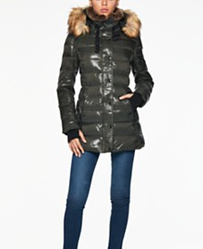 S13 Chelsea Faux-Fur-Trim Hooded Puffer Coat