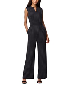 Tahari ASL Pinstriped Wide-Leg Jumpsuit