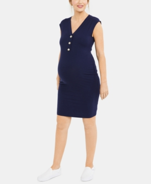 Image of A Pea In The Pod Maternity Button-Front Sheath Dress