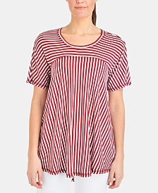 NY Collection Petite Stripe Swing T-Shirt