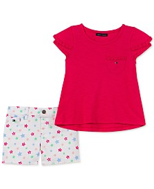 Tommy Hilfiger Little Girls 2-Pc. Crochet-Trim Top & Star-Print Shorts Set