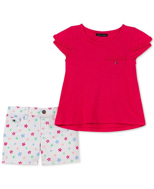 Tommy Hilfiger Toddler Girls 2-Pc. Crochet-Trim Top & Star-Print Shorts Set