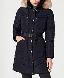 Michael Michael Kors Petite Faux-Fur-Trim Hooded Down Puffer Coat, Created for Macy's
