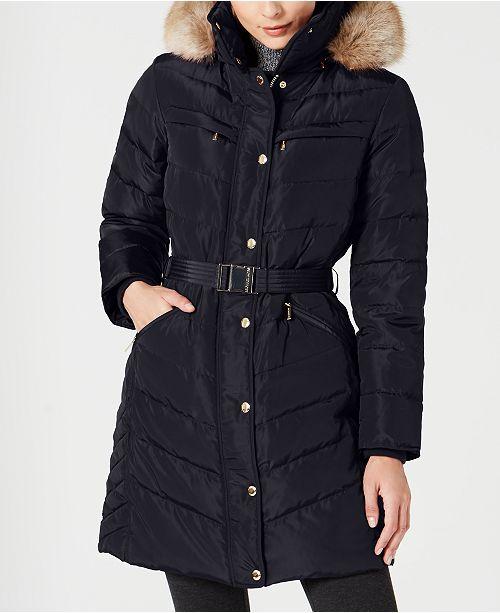 Michael Kors Petite Faux-Fur-Trim Hooded Down Puffer Coat, Created for Macy's