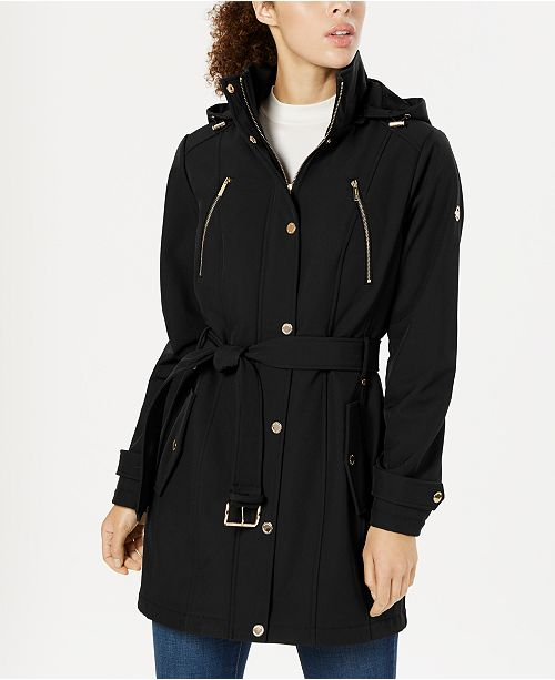 Michael Kors Hooded Belted Raincoat, Created for Macy's