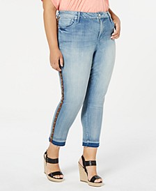 Trendy Plus Size Embroidered Skinny Jeans