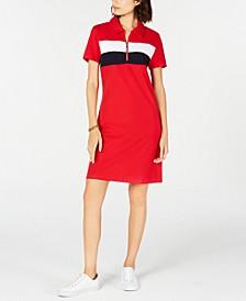 Colorblocked Zip-Neck Polo Dress