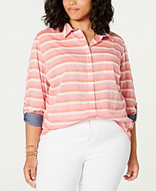 Plus Size Cotton Striped Shirt, Created for Macy's