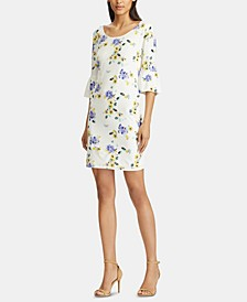 Floral-Print Ruffle-Sleeve Jersey Dress