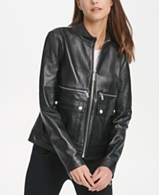 DKNY Zip Front Leather Jacket