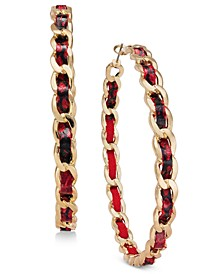 Gold-Tone Animal Print Woven Chain Hoop Earrings, Created for Macy's