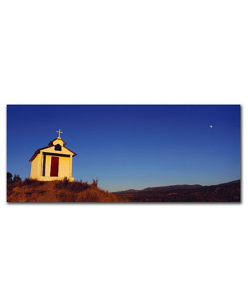 "Trademark Global Church with Moon by Preston Canvas Art - 24"" x 8"""